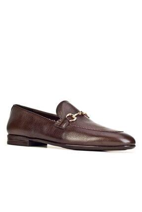 Cabani Toka Aksesuarlı Geyik Derisi Kaymaz Taban Loafer - Erkek Ayakkabı Kahve 0