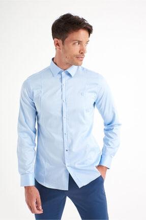 Avva Erkek Mavi Düz Klasik Yaka Slim Fit Gömlek B002217 1