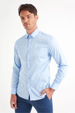 Avva Erkek Mavi Düz Klasik Yaka Slim Fit Gömlek B002217 2