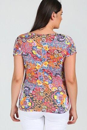 Womenice Büyük Beden Turuncu Desenli Kolsuz Bluz 1