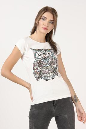 Tena Moda Kadın Ekru Baykuş Baskılı Tişört 2