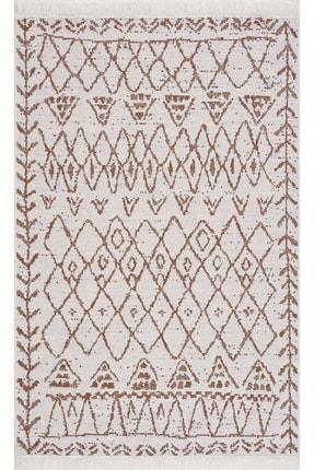 Caretta Home Kahverengi Beyaz Saçaklı Mistik Desenli Dokuma Kilim 1