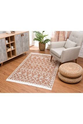 Caretta Home Kahverengi Beyaz Saçaklı Mistik Desenli Dokuma Kilim 2
