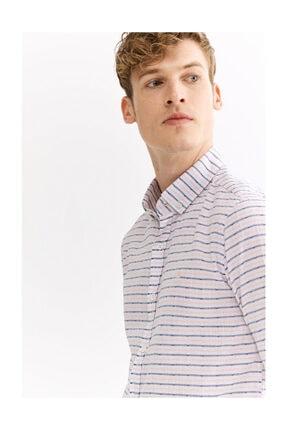Avva Erkek Açık Pembe Enine Çizgili Düğmeli Yaka Slim Fit Gömlek A01y2111 1