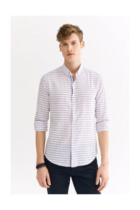 Avva Erkek Açık Pembe Enine Çizgili Düğmeli Yaka Slim Fit Gömlek A01y2111 2