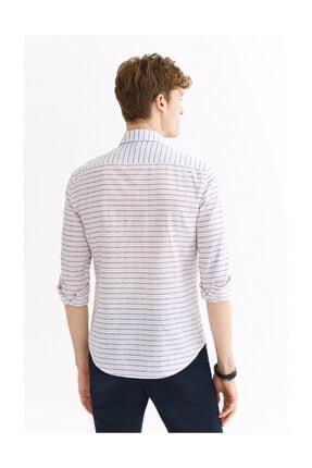 Avva Erkek Açık Pembe Enine Çizgili Düğmeli Yaka Slim Fit Gömlek A01y2111 3