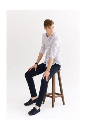Avva Erkek Açık Pembe Enine Çizgili Düğmeli Yaka Slim Fit Gömlek A01y2111 4