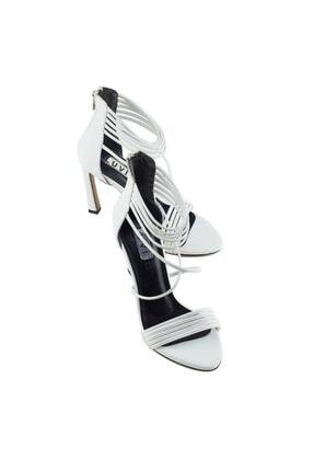 LuviShoes 115 Beyaz Cilt Kadın Topuklu Ayakkabı 3