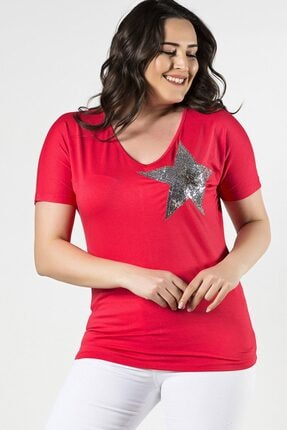 Womenice Büyük Beden Fuşya Önü Yıldız Pul Aplikeli Bluz 0