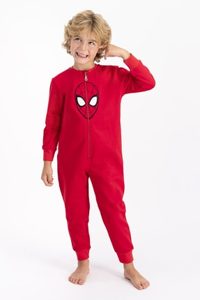 Spiderman Lisanslı Kırmızı Erkek Çocuk Tulum 0