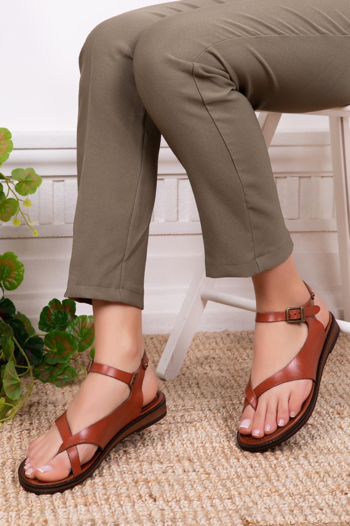 Hakiki Deri Taba Kadın Deri Sandalet Dp-0081