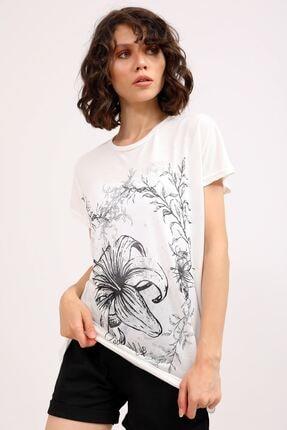 metropol tekstil Krt-066 Desenli Tshirt Krem 1