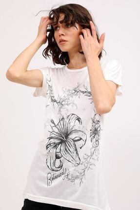 metropol tekstil Krt-066 Desenli Tshirt Krem 4