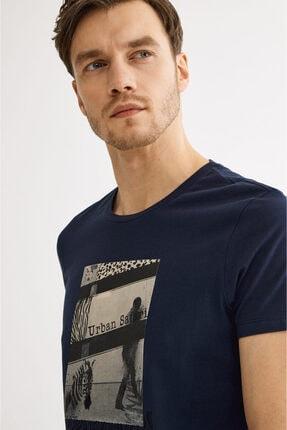 Avva Erkek Lacivert Bisiklet Yaka Baskılı T-shirt A01y1021 0