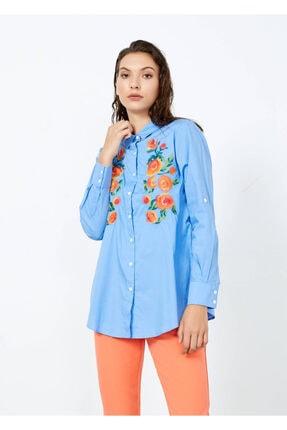 Adze Kadın Mavi Nakış Işlemeli Uzun Kol Gömlek Mavi L 2