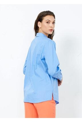 Adze Kadın Mavi Nakış Işlemeli Uzun Kol Gömlek Mavi L 4