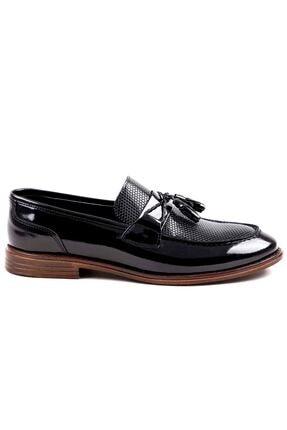 MPP Hakiki Deri Loafer Erkek Ayakkabı Trs508 Rugan Siyah 2