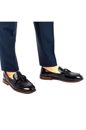 MPP Hakiki Deri Loafer Erkek Ayakkabı Trs508 Rugan Siyah 3