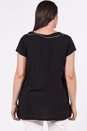 Womenice Büyük Beden Siyah Yakası Kolu Sufle Bluz 3