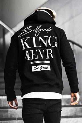 DE PLEIN Unisex King Siyah Baskılı % 100 Pamuk Kapüşonlu Sweatshirt 0
