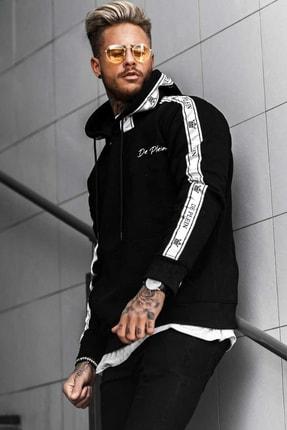 DE PLEIN Unisex King Siyah Baskılı % 100 Pamuk Kapüşonlu Sweatshirt 1