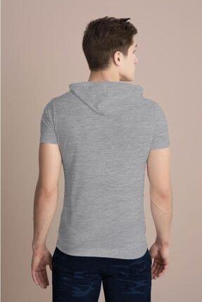 Tena Moda Erkek Gri Melanj Kapüşonlu Düz Tişört 3