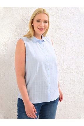 LC Waikiki Kadın Mat Mavi  Gömlek 0