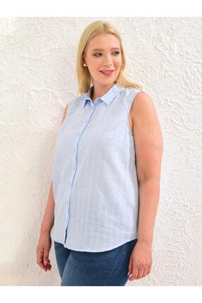 LC Waikiki Kadın Mat Mavi  Gömlek 2