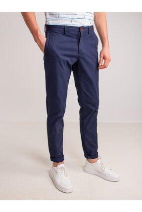 Dufy Lacivert Aksesuar Detaylı Armür Pamuklu Likra Erkek Pantolon - Modern Fit 0