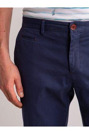 Dufy Lacivert Aksesuar Detaylı Armür Pamuklu Likra Erkek Pantolon - Modern Fit 1
