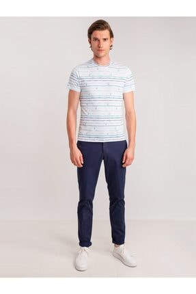 Dufy Lacivert Aksesuar Detaylı Armür Pamuklu Likra Erkek Pantolon - Modern Fit 2