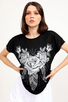 metropol tekstil Krt-046 Desenli Tshirt Siyah 0