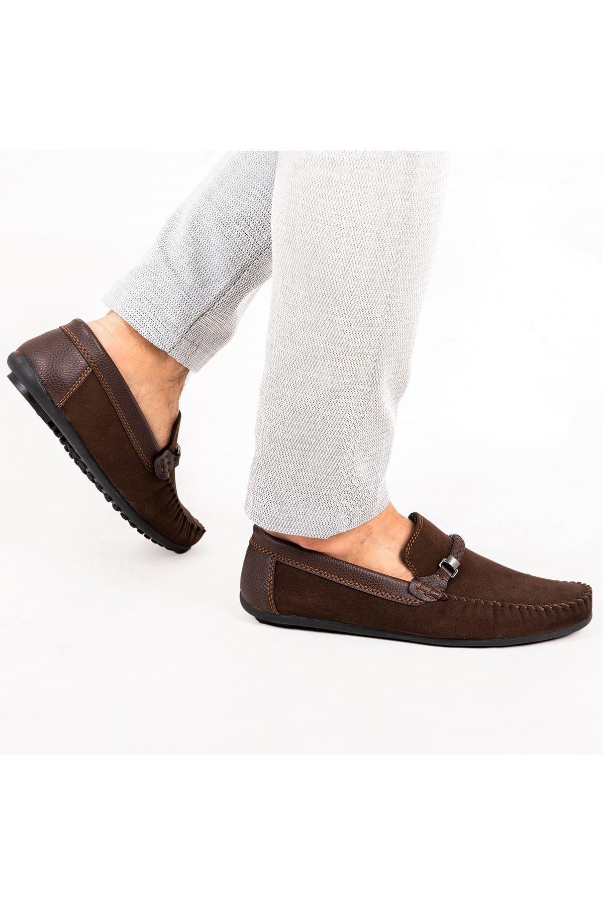 Ortopedik Loafer Erkek Ayakkabı Mln1102 Süet Kahve