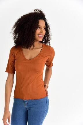 Tena Moda Kadın Kiremit V Yaka Mendil Dikiş Kaşkorse Tişört 2
