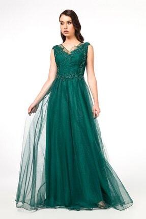 Abiye Sarayı Yeşil Güpürlü Sırt Detaylı Uzun Abiye Elbise 1