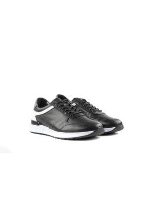 MARCOMEN Siyah Hakiki Deri Bağcıklı Sneaker 3
