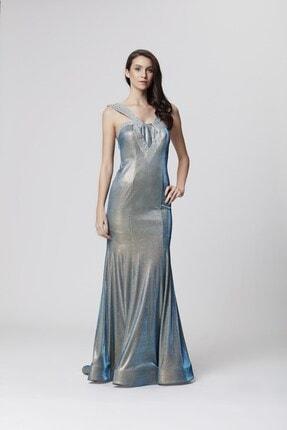 Abiye Sarayı Mavi Askı Ve Sırt Detaylı Simli Uzun Balık Abiye Elbise 0