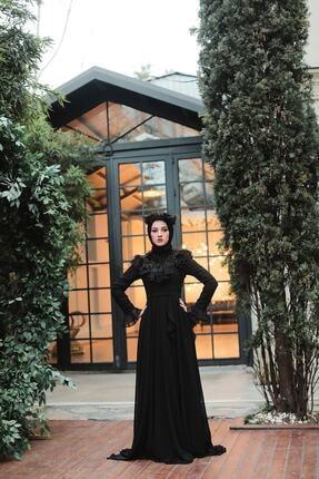 Siyah Volanlı Şifon Abiye Elbise 5462