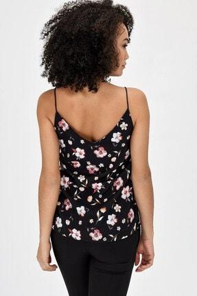 Jument Queen Empirme Ip Askılı Bluz - Siyah Çiçek 1