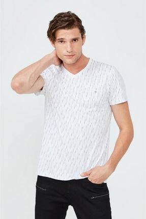 Avva Erkek Beyaz V Yaka Baskılı T-shirt A02y1040 1