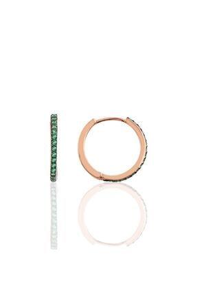 Söğütlü Silver Gümüş 17 Mm Rose Yeşil Taşlı Tamtur Halka Küpe 0