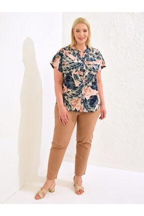 LC Waikiki Kadın Pembe Baskili  Gömlek 2