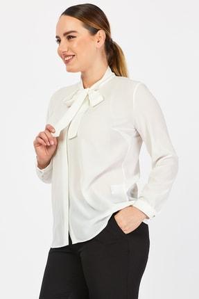 PERA CLUB Büyük Beden Fular Özellikli Beyaz Gömlek 0