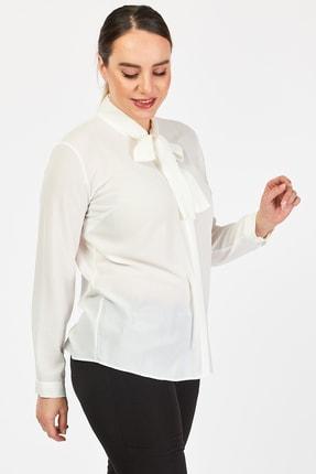 PERA CLUB Büyük Beden Fular Özellikli Beyaz Gömlek 2