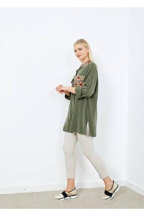 Adze Kadın Koyu Haki Cepli Işlemeli Gömlek Khaki L 4