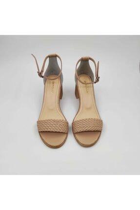 Dericlub Nk315 Bej Kadın Tek Bant Topuklu Deri Ayakkabı 1