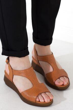 Taba Hakiki Deri Tokalı Kadın Günlük Sandalet • A202ystl0024 A202YSTL0024