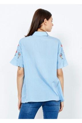 Adze Kadın Mavi Çizgili Çiçek Desenli Düğmeli Gömlek Mavi S 3