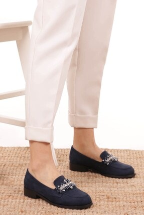 Mio Gusto Matilda Lacivert Süet Taşlı Oxford Ayakkabı 3