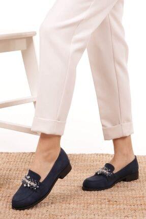 Mio Gusto Matilda Lacivert Süet Taşlı Oxford Ayakkabı 4